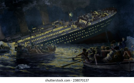 Sinking of the Titanic The lifeboats row away from the still lighted ship on April 15th 1912 as depicted in the British Newspaper