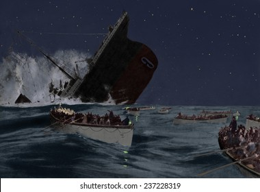 Sinking of the Titanic witnessed by survivors in lifeboats, 1912 image with digital color.