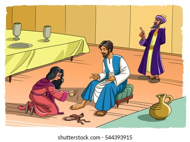 Sinner Maria washes the feet of Jesus