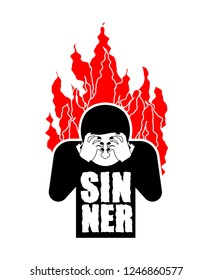 Sinner on fire. OMG. Cover face with hands. Despair and suffering. Hell fire.