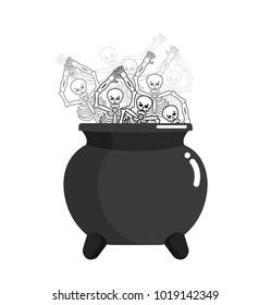 Sinner in pot. Skeleton in boiler. Cook for sinners in resin. Religion illustration. Hell symbol. Hells torments