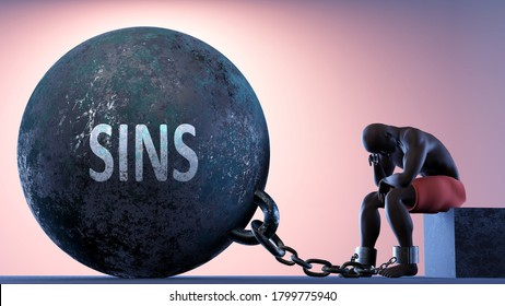 Sins as a heavy weight in life - symbolized by a person in chains attached to a prisoner ball to show that Sins can be a sorrow, brings suffering and it is a psychological burden, 3d illustration