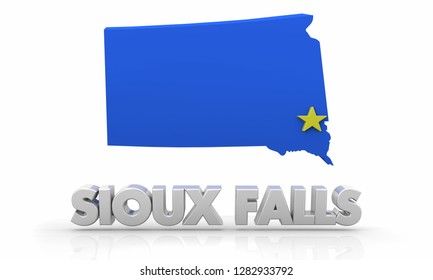 Sioux Falls South Dakota SD City State Map 3d Illustration