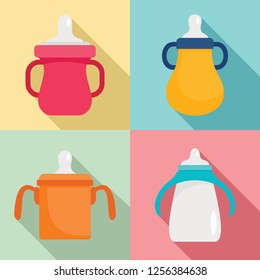 Sippy cup icon set. Flat set of sippy cup icons for web design