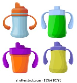 Sippy cup icons set. Cartoon set of sippy cup icons for web design