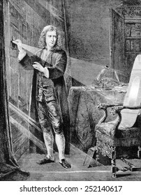 Sir Isaac Newton (1642-1727) examining the nature of light with the aid of a prism