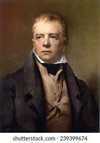 Sir Walter Scott (1771-1832) Scottish author who wrote narrative poetry early in his career, before the historical novel became his primary genre. Portrait ca.1810.