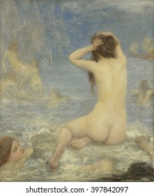 The Sirens, by John Macallan Swan, 1870-1910, British painting, oil on canvas. In Greek mythology, Sirens lured ships with their enchanting voices to shipwreck on the rocky coast of their island