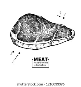 Sirloin steak drawing. Red meat hand drawn sketch. Engraved food illustration. Vintage object. Butcher shop product. Great for label, restaurant, barbecue menu