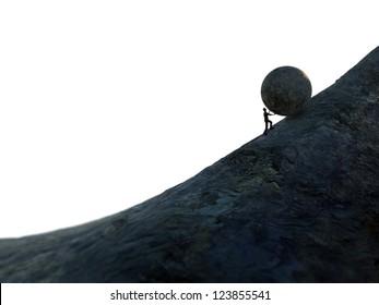 Sisyphus - man pushing a heavy bolder up hill.