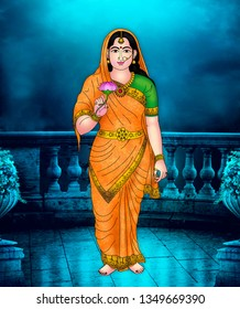 Sita Devi – Beautiful Sita Devi, consort of Lord Rama, holding a lotus in her hand. She is considered as an incarnation of Goddess Lakshmi