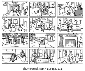 Sitcom storyboard with a maid in a wealthy house