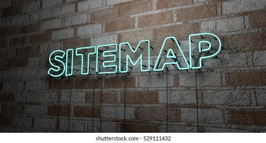 SITEMAP - Glowing Neon Sign on stonework wall - 3D rendered royalty free stock illustration.  Can be used for online banner ads and direct mailers.