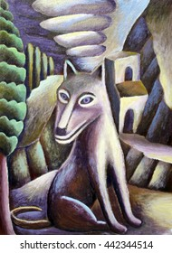 Sitting Dog Painting in Landscape Folk Art