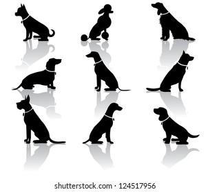 Sitting Dog Silhouettes