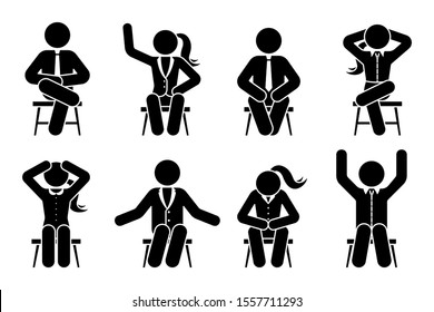 Sitting on chair stick figure business man and woman different poses pictogram illustration icon set. Male and female silhouette seated happy, comfy, sad, tired, depressed sign on white background
