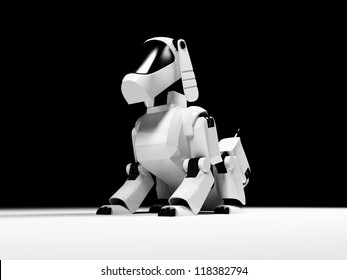 Sitting robot dog from the white plastic on a black background