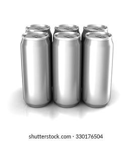 Six aluminum cans