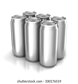 Six aluminum cans isolated on white