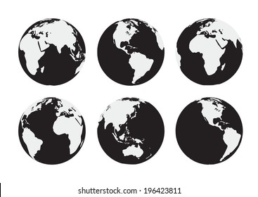 Six black and white  Earth globes. Raster version