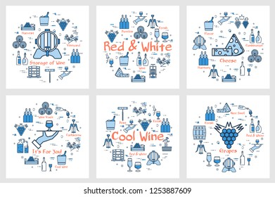 Six blue square banners in linear style - of red and white wine, grape, viticulture, winemaking and storage of products