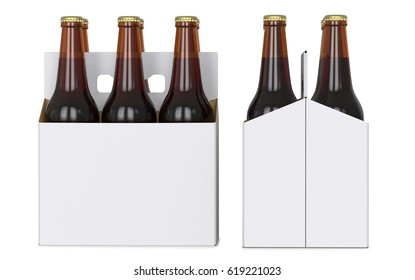 Six brown beer bottles in white corton pack. Side view and front view. 3D render, isolated on white background.