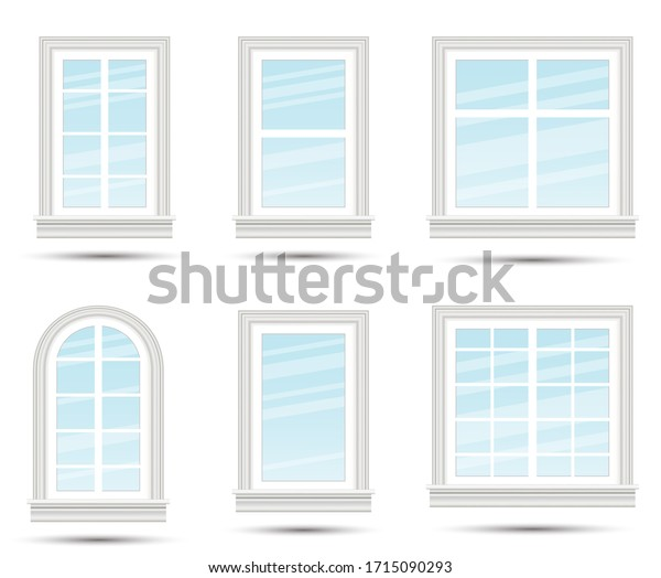 Six Closed Realistic Glass Windows Isolated on White Background. Design Element of Architecture. Window Frames.