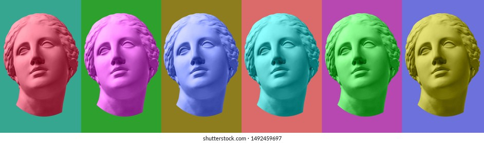 Six colorful gypsum copy of ancient statue Venus head isolated on a multicolors background. Zine art.