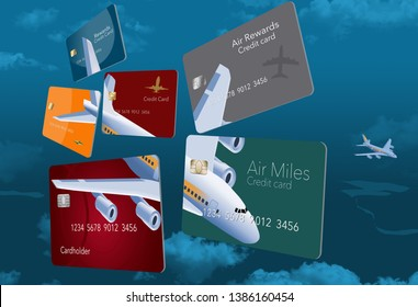 Six credit cards that offer air travel mileage rewards and perks are decorated with an image of an airplane that is seen from above flying high in the sky.