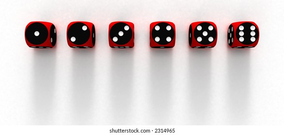 Six dices on white surfaces (3D)