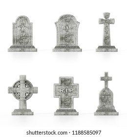 Six different gravestone models isolated on white background with soft reflections.