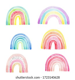 Six funny concept rainbows; watercolor hand draw illustration; with white isolated background
