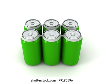 six green aluminum cans over white background 3D render