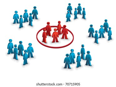 six groups of people, one different symbolizing the target group