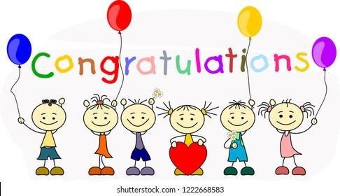 Six kids say Congratulations