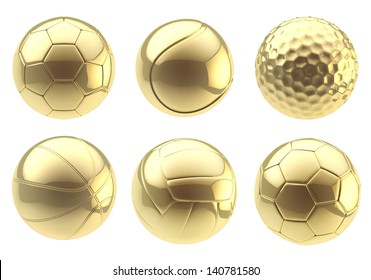 Six kinds of golden balls: soccer, tennis, golf, basketball, volleyball, football isolated over white background