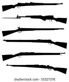Six old shotguns black on white detailed silhouettes