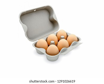 Six organic eggs in renewable carton package 3d illustration