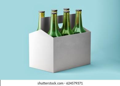 Six Pack Beer with Bottles Mockup on blue background. 3d render