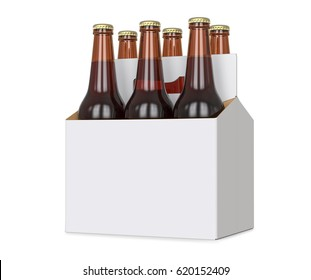 Six pack, sixpack of Brown beer bottles in blank carrier. 3D render, isolated isolated over a white background.