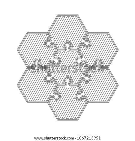 six piece puzzle business presentation circle stock illustration