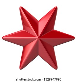 Six pointed red star 3d illustration on white background