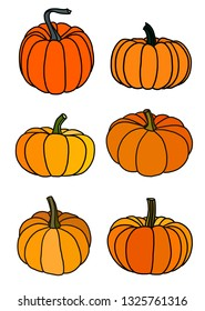 six pumpkins isolated on white