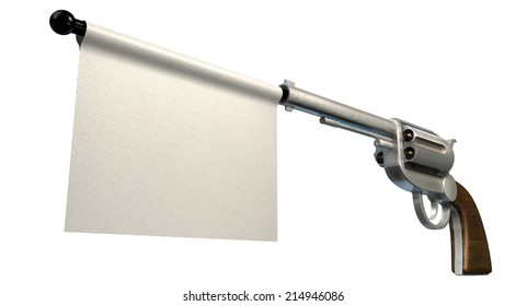 A six shooter gun with a blank white flag coming out the barrel on an isolated white background