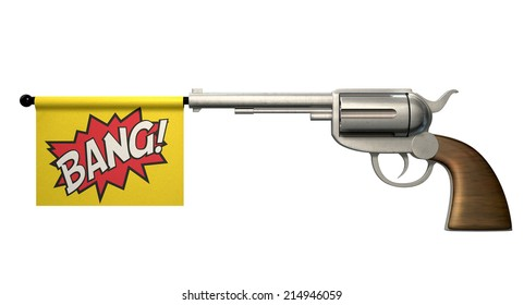 A six shooter gun with a flag coming out the barrel that says the word bang on it on an isolated white background