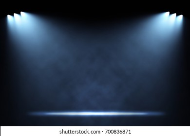 Six side spotlights illuminating empty stage background. Raster illustration lightning template.