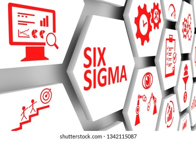 SIX SIGMA concept cell background 3d illustration
