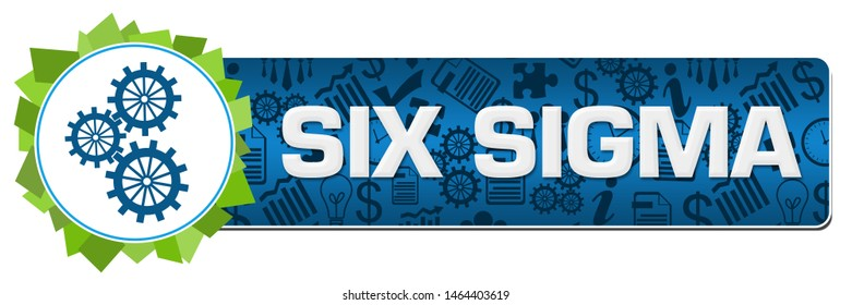 Six sigma concept image with text and related symbols.