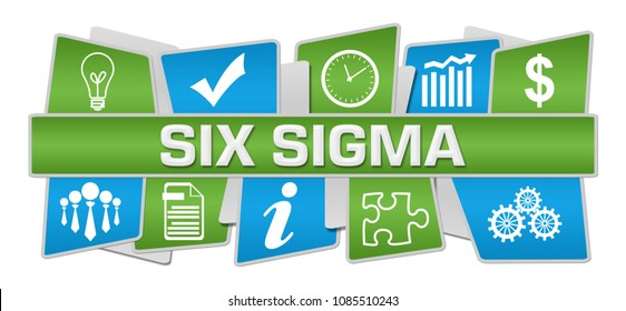 Six sigma text written over green blue background.