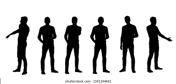 Six silhouettes of figures of a man holding a mobile smartphone isolated on a white background.